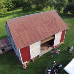 Overhead shot of the barn taken from a RC drone
