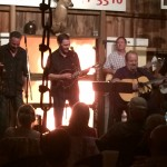 Bluetrain (with guest fiddle player Warren Blair) plays while the fire rages in the background. 9/19/15